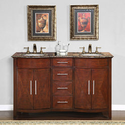 Silkroad Exclusive - Silkroad Exclusive Double Sink 58-inch Granite Top Vanity Cabinet - Bathroom double sink cabinet vanity Materials: Natural stone top, solid wood structure and CARB Ph2 certified plywood, MDF panels, ceramic sinks Hardware finish: Brushed nickel