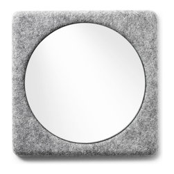 MENU - Felt Panel Mirror - This felt mirror would be perfect for an entryway or small bathroom. The felt panel is clean and unexpected and would complement a modern home. And the size is just right for checking your hair or lipstick before dashing out.
