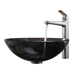 Kraus - Kraus Clear Black Glass Vessel Sink and Virtus Faucet Brushed Nickel - *Add a touch of elegance to your bathroom with a glass sink combo from Kraus