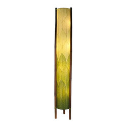"""Lamps Plus - Asian Eangee Giant Hue Series Green Cocoa Leaves Tower Floor Lamp - The striking shade of this floor lamp is made of cocoa leaves that have been put through a labor-intensive process of fossilization. The leaves are then stained in organic dyes and sealed. The wrought iron frame is powder coated and the legs are made of real bamboo which is hand-stained and bound with twine. A distinctive addition to any decor. Powder coat finish. Wrought iron frame. Fossilized cocoa leaf shade. Takes four 40 watt bulbs (not included). On-off foot switch. 11"""" wide. 72"""" high.  Powder coat finish.   Wrought iron frame.   Fossilized cocoa leaf shade.   Takes four 40 watt bulbs (not included).   On-off foot switch.   Artisan made.  Design by eangee Home Design.  72"""" high.  11"""" wide."""