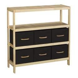 "Household Essentials - 6 Bin Wooden Storage Stand - This hard-topped storage stand is classically elegant.  It is also versatile and adaptable allowing a variety of arrangements to suit your need. It comes with 6 black bins to rest in threes on its three well-sized shelves.  The Wooden Storage Stand is sturdily constructed yet designed to be lightweight for easy set-up.  It has a natural wood frame to ground shelter and accent the rich black bins.  At the rear of each shelf is a wire stop bar to keep bins from sliding out the back of the stand and to anchor the moveable shelves.    Details:Wooden storage stand with three shelvesComes with 6 black bins with matching wood accentsHard topSturdy construction Color: Natural wood and black Dimensions:36"" x 36"" x 12""91.4cm x 91.4cm x 30.5cm"