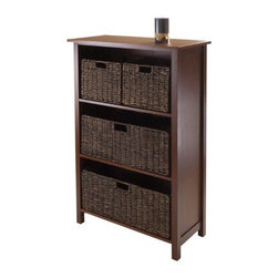 Winsome Trading, INC. - Winsome Granville 5 Piece Storage Shelf with 4 Foldable Baskets - Antique Walnut - A five-piece orchestration of transitional style and versatile storage, the Winsome Granville 5 Piece Storage Shelf with 4 Foldable Baskets