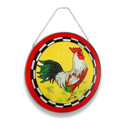 Zeckos - Colorful Rooster Suncatcher with Red Border Window Accent - This very handsome and colorful rooster makes it easy to add some color to your windows A red, green and brown rooster takes center stage in this round sun-catcher and is framed in red that only accentuates this proud barnyard fowl and has a metal frame. Made of colored glass, it will shine brightly in the sunlight and cast a beautiful glow when hung in a window using the attached metal chain, yet would look just as stunning hanging on a wall It's the perfect size to display on a plate rack in your favorite room, too at 10 inches in diameter, and would make a very welcomed gift for a rooster collecting friend.