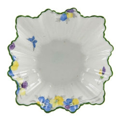 Sutherland China, Made in England on base - Consigned Art Deco English Star Burst Porcelain Serving Bowl 1940s - Sutherland square porcelain bowl in the Art Deco fashion, painted with summer flowers in yellow and blue.