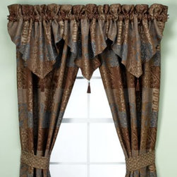 Croscill - Croscill Galleria Ascot Valance in Chocolate - The intricately woven patch pattern of these window treatments is enhanced by the rich, deep shades of chocolate and blues. A luxurious complement to the Croscill Galleria comforter or any decor.