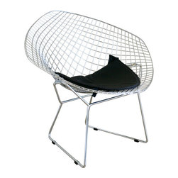 "Baxton Studio - Baxton Studio Bertoia Style Diamond Wire Chair - Feel the need to nest? Before you start gathering moss and sticks try picking up this wire chair as an alternative. With a modern shape and contemporary wire design, this chair provides a comfortable ""nest"" equipped with comfy leatherette seat to get cozy on. Steel legs ensure this is one nest that won't easily fall out of the tree."