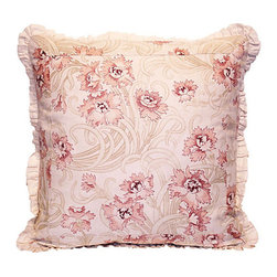 French Floral Pillow - Delicate — yet with presence — this French floral print adds a gracious touch to your favorite setting. The pillow features an ample ruffle, oyster-colored linen back and over-locked seams over a plush goose down and feather fill blend.
