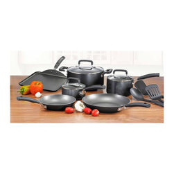 T-fal - Signature Total 12-Pc Non-Stick Cookware Set - Includes 8 in. and 11 in. fry pans, 10.25 in. square griddle, 1 Qt. and 2 Qt. covered sauce pans with lids, 5 Qt. covered Dutch oven with lid and three tools. Thermo-Spot heat indicator that shows when pan is perfectly preheated. Non-stick interior. Even heat base. Glass lid and riveted soft touch handles. Dishwasher safe. Oven safe up to 350 degree F. Limited lifetime warrantyT-Fal's Signature Total Non-Stick series is patterned with a difference you can see.