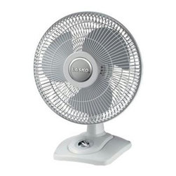 "Lasko Products - Oscillating Table Fan 12"" - Lasko 12"" Oscillating Premium Table Fan with convenientFront-mounted manual controls, metallic accents, 3 quiet speeds, wide-area oscillation, carry handle, tilt-back feature, simple ""no tool"" assembly, ideal for all rooms, ETL Listed"