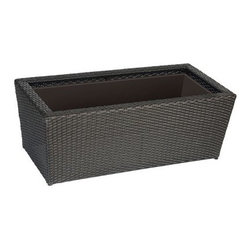 Rectangle Resin Wicker Vista Planter - Set of 2 - Decorative, durable, and practical, the Resin Wicker Vista Rectangular Planter - Set of 2 is the perfect solution to your gardening needs. Enjoy beautiful greenery and flowers on the porch or patio with these convenient, large-size rectangular planters, each constructed of hand-woven strands of Weatherwise flat resin wicker. Each weather-defying planter features a rust-proof, powder-coated aluminum frame to further enhance its strength. Antique bronze in color, these planters will look elegant at your front door or in your living room. They also feature plastic liners to protect the planter interiors. Protective feet keep the bottoms off the ground, preventing moisture stains and improving drainage.About DMC ProductsDMC Products has developed a reputation as one of the leading manufacturers of unique products for the home and garden. They are committed to designing and producing great looking products with undeniable consumer value. They are constantly working on new and innovative products to enhance your home or business. DMC Products cares about your health and the environment. They are proud to say that they do not use lead-based paints or finishes on any of their products.Please note this product does not ship to Pennsylvania.