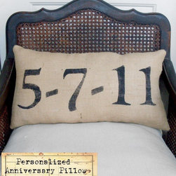 Remember The Day, Burlap Feed Sack Pillow By Nest Door To Heaven - Remember the most important dates with these burlap pillow covers.