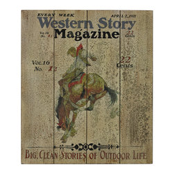 Sterling - Sterling 26-8685 Western Storywestern Story Magazine Hand Paint On Wood - Sterling 26-8685 Western Storywestern Story Magazine Hand Paint On Wood