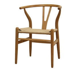 Baxton Studio - Baxton Studio Wishbone Chair - Natural Wood Y Chair - This dining chair features traditional wood and is paired with a modern design, resulting in a unique piece for your home. The frame consists of solid wood with a natural finish, a comfortably-curved backrest, and sturdy natural hemp seat. This item will arrive fully assembled, and is also available in a dark brown wood stain. This is a quality reproduction of the Hans Wegner Wishbone Chair, which is also known as the Wegner Y Chair, Carl Hansen Wishbone Chair, CH24 Wishbone Chair, and the Wegner CH24.