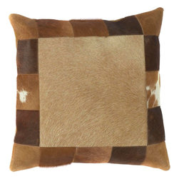 "Surya - Surya PMH-118 18"" x 18"" Poly Fiber Pillow Kit - This pillow brings a western feel to any room with its animal hide design. Colors of caramel and brown accent this decorative pillow. This pillow contains a poly fill and a zipper closure. Add this 18"" x 18"" pillow to your collection today."