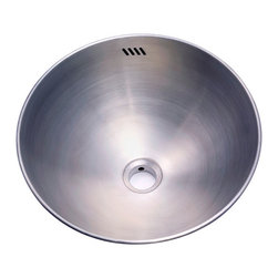"""Kingston Brass - Double Layer Round Vessel Sink - All of Kingston Brass' kitchen sinks offer sophisticated designs with superior quality. Each of our sinks are made of stainless steel and is fully protected by a heavy duty sound deadening pad to minimize the noise within the basin during washing. With its sleek and spacious construction, you can choose from a wide range of uniquely-designed sinks when defining the perfect look for your kitchen.; High quality round vessel with double wall and overflow for above counter use; 22-gauge stainless steel; Bowl Dimensions: (L)14-9/16"""" x (W)14-9/16""""; Includes installation template; Exposed Surfaces Are hand-polished to a lustrous brushed nickel finish; Material: Brass; Finish: Brushed Nickel; Collection: Beverly Hills"""