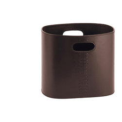 WS Bath Collections - Korame 7001 Newspaper Container - Korame by WS Bath Collections Newspaper Container in Hand Crafted Leather in Black, Brown, or White
