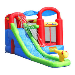 Bounceland - Water Slide with Playstation Bounce House - Features: -Bounce house.-14 - 16 oz. heavy-duty, laminated and coated vinyl and nylon.-Heavy-duty puncture proof materials with double to quadruple stitches.-Materials comply with ASTM (American Society for Testing and Materials) toy safety standards.-Easy set up and take down.-Inflates in less than a minute.-For indoor and outdoor use.-Maximum weight capacity: 400 lbs / 4 children.-ISTA 3A certified.-Includes basketball hoop, wet or dry slide, ball pit with 50 plastic balls, tunnel, hoop shooting, ground stakes pack, large carrying bag, repair kit and instructions.-Distressed: No.Specifications: -Recommended for children aged 3 - 10 years (100 lbs with max height 5 ft).Dimensions: -96'' H x 108'' W x 204'' D, 66 lbs.-Overall Height - Top to Bottom: 96.-Overall Width - Side to Side: 96.-Overall Depth - Front to Back: 204.-Overall Product Weight: 66 lbs.Warranty: -Bounce house: 90-day limited warranty.-Electric blower: 1 year limited warranty.