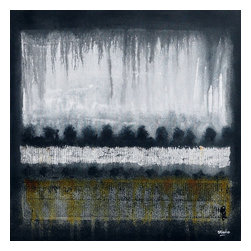"""Tree Line, Original, Painting - """"An abstract painting organic in style. Painted in grey, black and white tones with earthy colour accents. Here I have experimented with texture and added form with a line of trees. A powerful abstract landscape with atmosphere perfect for a modern interior design."""""""