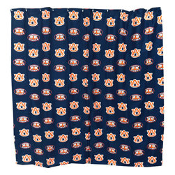 College Covers - NCAA Auburn Tigers Shower Curtain Bathroom Decoration - Features: