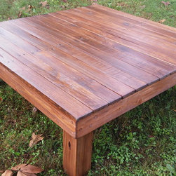 Yonder Years Rustic Reclaimed Dark Walnut Pallet Wood Coffee Table - Make an eco friendly statement in your living space with beautiful tones of dark walnut reclaimed wood!