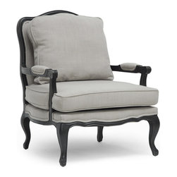 """Baxton Studio - Baxton Studio Antoinette Classic Antiqued French Accent Chair - Relax in the lap of luxury. The Antoinette French Living Room Chair has all the fixings of exquisite old-world French detail: scalloped and scrolled wood trim, padded armrests, and distressed wood, complete with the finish rubbed off on the edges. A black rubberwood frame flanks comfortable foam cushions encased in neutral gray-beige linen upholstery.  A removable backrest cushion is also included. We recommend exclusively spot cleaning. The Antoinette Designer Arm Chair is made in China and requires assembly.  seat'sion:19"""" H x 26"""" W x 28"""" D"""