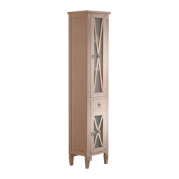 Macral - Alessandria Linen Cabinet. Ivory Patina. - Keep your bathroom linens close at hand with this charming, tall linen cabinet. Made from solid wood, its vintage style will coordinate beautifully with the matching Alessandria vanity and mirror.