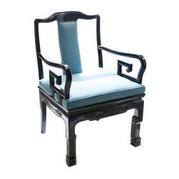 Pre-owned Asian-Style Black And Blue Armchair - Fit for an Emperor! Add a regal and worldly touch to any room with these black lacquered chairs, which are beautifully complimented by the accompanying royal blue upholstery. Cool Asian-modern style with a Dorothy Draper twist.    There are 2 chairs available, priced individually. Please contact support@chairish.com if you're interested in purchasing the pair!