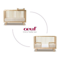 Oeuf - Conversion Kit - If you already own the Oeuf Sparrow crib, the conversion kit is a great way to convert it into a stylish toddler bed. The toddler bed reinforces a child's sense of new-found independence by allowing them to climb in and out on their own. The cozy size, low mattress and side rails give your tot a sense of security and prevent night-time falls. Simply remove one of the larger sized panels from the Sparrow crib and replace it with the Sparrow Toddler Bed panel for a familiar and comfortable space to fit your growing child's needs. Features: -Please check your Sparrow Crib's date of manufacture and choose your conversion rail accordingly.-Made from solid birch and Baltic birch plywood to provide a sturdy, secure structure.-Made in Latvia, a nation with a strong woodworking heritage, from locally sourced wood.-Easy to assemble.-Continue to use your existing standard full-size crib mattress and bedding.-Finishes are non-toxic and water-based, free of VOC health hazards.-Wood wastes and finishing materials are recycled.-Sparrow collection.-Distressed: No.