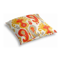 Orange Ikat Custom Outdoor Floor Pillow - Pick up a Simple Outdoor Floor Pillow for your next shindig under the sun. Perfect for an outdoor picnic or Moroccan style cabana party. We love it in this oversized outdoor ikat that will make a big (literally!) splash in clean, bright shades of coral red, orange, yellow and gray.