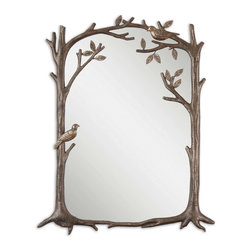 Uttermost - Perching Birds Small Decorative Mirror - Birds are harbingers of spring and wonderful times to come. All you need is this mirror to make all that come true. In your entryway, let the vines and birds peep out from the heavily antiqued silver leaf finish and bid you a good morning.