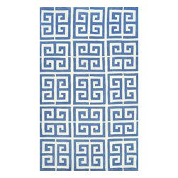 nuLOOM - nuLOOM Handmade Greek Key Rug, Blue, 7.6'x9.6' - Material: 100% Polyester