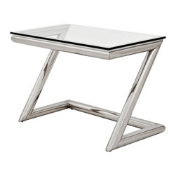 Eichholtz Oroa - Desk Z, Polished Steel - Polished stainless steel and clear glass