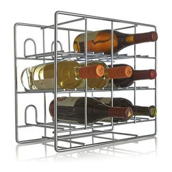 Bodega 12-Bottle Wine Rack - Wine rack stacks up sleek and functional in galvanized steel, holding up to 12 wine bottles. Open storage racks up contemporary style on the counter or behind the bar.