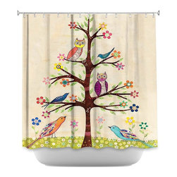 DiaNoche Designs - Shower Curtain Artistic - Owl Bird Tree II - DiaNoche Designs works with artists from around the world to bring unique, artistic products to decorate all aspects of your home.  Our designer Shower Curtains will be the talk of every guest to visit your bathroom!  Our Shower Curtains have Sewn reinforced holes for curtain rings, Shower Curtain Rings Not Included.  Dye Sublimation printing adheres the ink to the material for long life and durability. Machine Wash upon arrival for maximum softness. Made in USA.  Shower Curtain Rings Not Included.