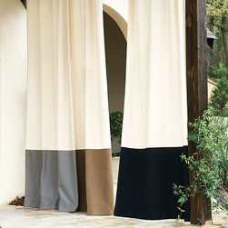 Ballard Designs - Outdoor Bordered Panel - Pair with our indoor/outdoor fabrics, pillows & umbrellas. Available in your choice of 3 Sunbrella® fabrics. Resists stains & fading. Our rugged Outdoor Drapery Panel has been a top-rated customer favorite for years and now it's available in your choice of three coordinating borders. Sewn of washable, weather-defying 100% Sunbrella acrylic and hand finished with stainless steel grommets and weighted corners. Outdoor Bordered Panel features: . Available in your choice of 3 Sunbrella fabrics. .