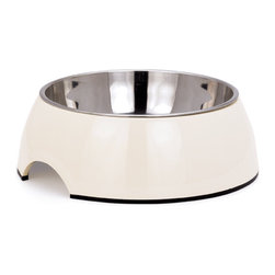 Contour Large Pet Bowl - I like this bowl. It has a melamine base which comes in multiple colors and a stainless steel bowl which is durable and easy for clean up. It's also the perfect size for my 3 monstrously huge mutts. So now they can look good eating too!