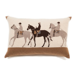 Rani Arabella - Rani Arabella Ivory Jockey Cashmere Blend Pillow, Sand - Neutral tones and a unique equestrian-themed image combine to give the Jockey Cashmere Blend Pillow its rustic look. Made from 70% cashmere and 30% wool, this pillow features three jockeys and their horses in shades of sand, taupe, beige and chocolate. Includes a 50% down and 50% polyester insert. Dry clean only. Made in Italy.