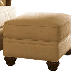 Lexington - Tommy Bahama Home Island Estate Benoa Harbour Ottoman - A simple build combined with natural accents make the Benoa Harbour Ottoman a versatile and comfortable addition to a living room collection. The semi-attached top cushion is plush, offering to an inviting place to rest your feet. Wooden bun feet with intricate carved detail adds a bold touch to the attractive simplicity of this piece. Pair with a matching upholstered chair to complete the refreshing look.