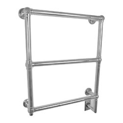 Amba - Classic 25x34 Electric Heated Towel Warmer - Rounded Bars with finials at each corner.