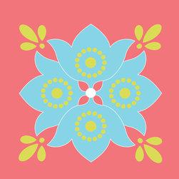 Murals Your Way - Flower - Aqua, Kiwi & Persimmons Wall Art - Painted by Simon & Kabuki, Flower - Aqua, Kiwi & Persimmons wall mural from Murals Your Way will add a distinctive touch to any room