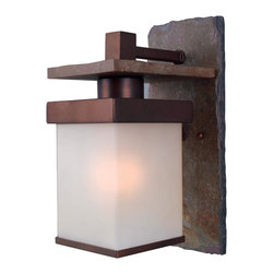 Design Craft - Castellina Natural Slate/ Copper 1-light Medium Wall Lantern - Brighten your indoor or outdoor space with this natural slate wall lantern. This Asian-inspired single-light lantern is finished in copper bronze to fit into your decor. Its frosted glass shade is sleek and simple in design,illuminating any setting.