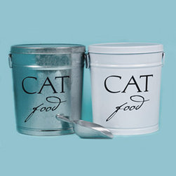 Frontgate - Classic Cat Food Storage Canister - Made of durable, rust-resistant galvanized steel. White canisters are powdercoated. FDA food-safe approved. Handy aluminum scoop included. Our Pet Food Storage Canisters offer the best way to keep your pet's food safe, dry, and fresh. Each of these roomy canisters features air-tight storage to keep out air and moisture, resulting in longer-lasting freshness and less waste. . . . .