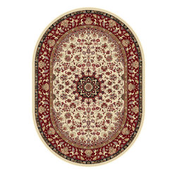 Tayse Rugs - Elegance Green and Blue Oval: 6 Ft. 7 In. x 9 Ft. 6 In. Rug - - The detailed oriental medallion design of this area rug make a statement of elegance to any room. Soft polypropylene fibers make it soft, warm, and easy to clean. Rich hues of ivory, gold, red and black. Vacuum and spot clean.  - Square Footage: 63  - Pattern: Oriental  - Pile Height: 0.39-Inch Tayse Rugs - 5392  Ivory  7x10 Oval