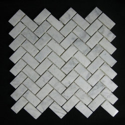 Bianco Carrara (White Carrera) Marble Tile Herringbone Mosaic Polish