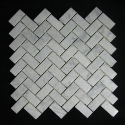 Bianco Carrara (White Carrera) Marble Tile Herringbone Mosaic Polish - Love the simple, subtle herringbone made of marble. I am considering this for my kitchen backsplash. A pattern — but not too busy!