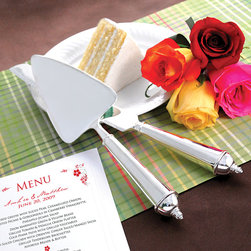 None - Contemporary Cake Knife & Serving Set - Whether you are in need of a silver-plated cake serving set for yourself or to give as a gift this set will be appreciated for its mix of beauty and function. The timeless set includes a knife and server, which can be engraved with a special message.