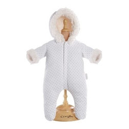 Corolle Mon Classiques Bebe 14 in. White Snowsuit Doll Ensemble - Her Corolle Mon Bebe Classiques dolly will be cute as a bug in a rug dressed in the Corolle Mon Classiques Bebe 14 in. White Snowsuit Doll Ensemble. A cozy winter onesie, this is beautifully sewn and expertly finished. The ensemble features a white polka dot snowsuit with snow white faux fur trim. It features Velcro closures for easy on and off. Designed to fit her 14-inch baby doll.About CorolleCorolle is a premier doll brand designed in the storybook region of France's Loire Valley. Since 1979, Corolle has been creating highly detailed dolls designed to be cherished by children everywhere. Every Corolle doll will inspire magical childhood memories that will last for a lifetime. Corolle dolls look and feel as real as possible. They're created of soft, supple vinyl, have natural-looking hair, and wear on-trend fashions. Corolle dolls are designed durable enough to withstand years of hugs and love. Perfect heirloom treasures! Doll play encourages children to explore different roles from caring for and sharing hopes and dreams to finding an understanding playmate and friend for life. Corolle designs dolls for children of all ages.There is a range of Corolle dolls designed for specific ages. Babi Corolle is a soft-body doll perfect for newborn babies and older. It's machine-washable, feather-light, and made to be loved. Mon Premier Corolle is designed for babies 18 months and older. This line includes a range of baby dolls, clothing, and accessories. The dolls are lightweight and soft. The clothing has Velcro closures so it's easy to put on and take off. Mon Classique Corolle is a classic baby doll designed for toddlers to love and nurture. This line has a complete assortment of larger baby dolls, clothing, and nursery accessories. Some even have hair that can be brushed and styled. Others coo, giggle, drink, and go potty. Mademoiselle Corolle is a toddler doll for toddlers. These dolls have expressive faces, silky long hair, and are dressed in the latest styles. This doll will be your little one's best friend. She's perfect for sharing secrets and working out new hairstyles and fashion. Les Cheries Corolle is designed for little ones four years and older. She has long, lush, rooted hair and an amazing wardrobe of stylish outfits. This doll provides endless hours of fashion and hair play.