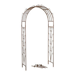 Deer Park Ironworks - Deer Park Ironworks Starburst Arbor Multicolor - AR202 - Shop for Arbors and Trellises from Hayneedle.com! Add timeless beauty to your garden or patio with the Deer Park Ironworks Starburst Arbor. Simple yet elegant this arbor is made from durable heavy gauge metal and has a natural patina which beautifully complements any decor or color scheme. Lovely enough to stand on its own you can also decorate this arbor with climbing plants and flowers to add a splash of color. Protected with a baked-on powder coated finish this gorgeous garden arch is made to last.About Deer Park Ironworks LLCYou'll immediately recognize a yard that's been appointed with pieces from Deer Park thanks to the classic wrought iron designs and traditional finish that has made them an power player in the outdoor furniture industry. Dedicated to creating value for their customers with durable quality pieces of functional and ornamental wrought iron Deer Park continues to provide timeless designs while never sacrificing customer service and satisfaction as their pursue their corporate goals.