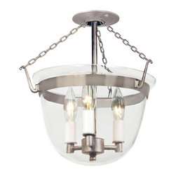 JVI Designs - Small Pewter Three-Light Bell Semi-Flush with Clear Glass - -Carrying the vision of rich opulence, the Bell Jar has evolved through times remaining a focal point of richness and affluence. From visions of old time class to modern day elegance, the bell jar remains a favorite in several settings of the home. Using mouth blown glass of different arrays and designs...the possibilities are endless to find a piece that matches your desired personality and vision.  -Materials: Brass and Steel  -Shade(s): Clear Glass JVI Designs - 1153-17