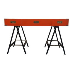 Hollywood Regency Campaign Desk - Beautiful Hollywood Regency desk in a red-orange lacquer with brass hardware. Would make the perfect color pop addition to a Hollywood Regency style decor. Vintage mavens rejoice! Made in Italy. Newly refinished.